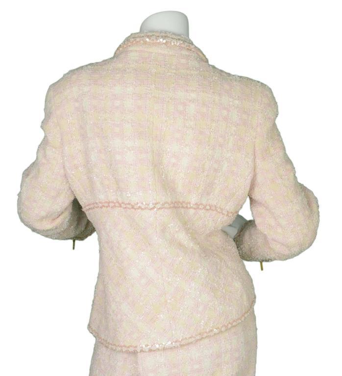 Chanel Claudia Schiffer Vintage '95 Beige & Pink Tweed Skirt Suit sz 46 4