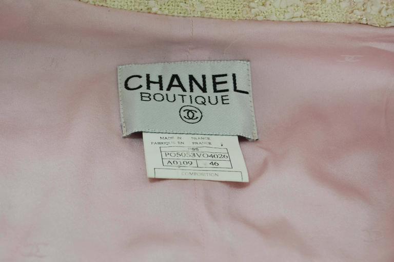 Chanel Claudia Schiffer Vintage '95 Beige & Pink Tweed Skirt Suit sz 46 8