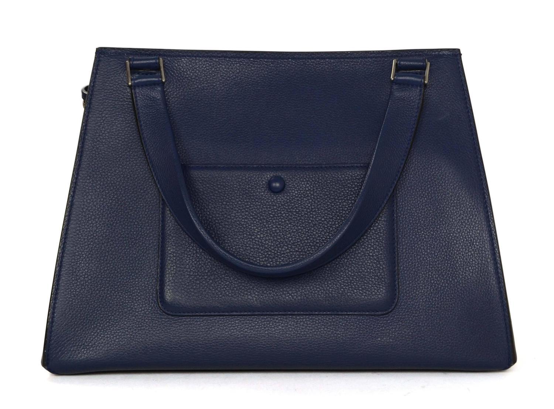 celine black luggage tote - Celine Blue Leather Medium Edge Tote Bag SHW For Sale at 1stdibs