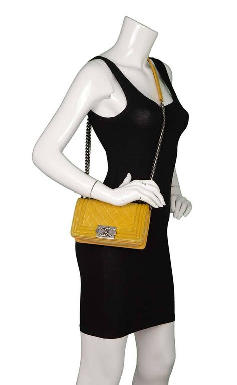 9932a5bbc8e6 Chanel Yellow Velvet Quilted Small Boy Bag SHW For Sale 6