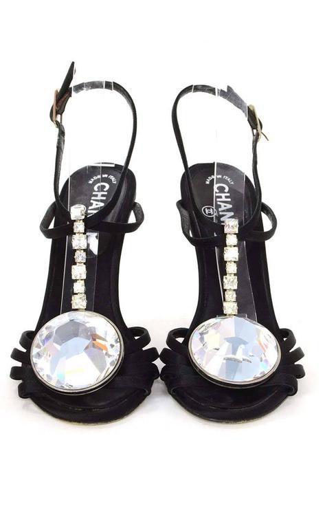 Chanel Black Satin & Crystal Evening Sandals sz 38 3