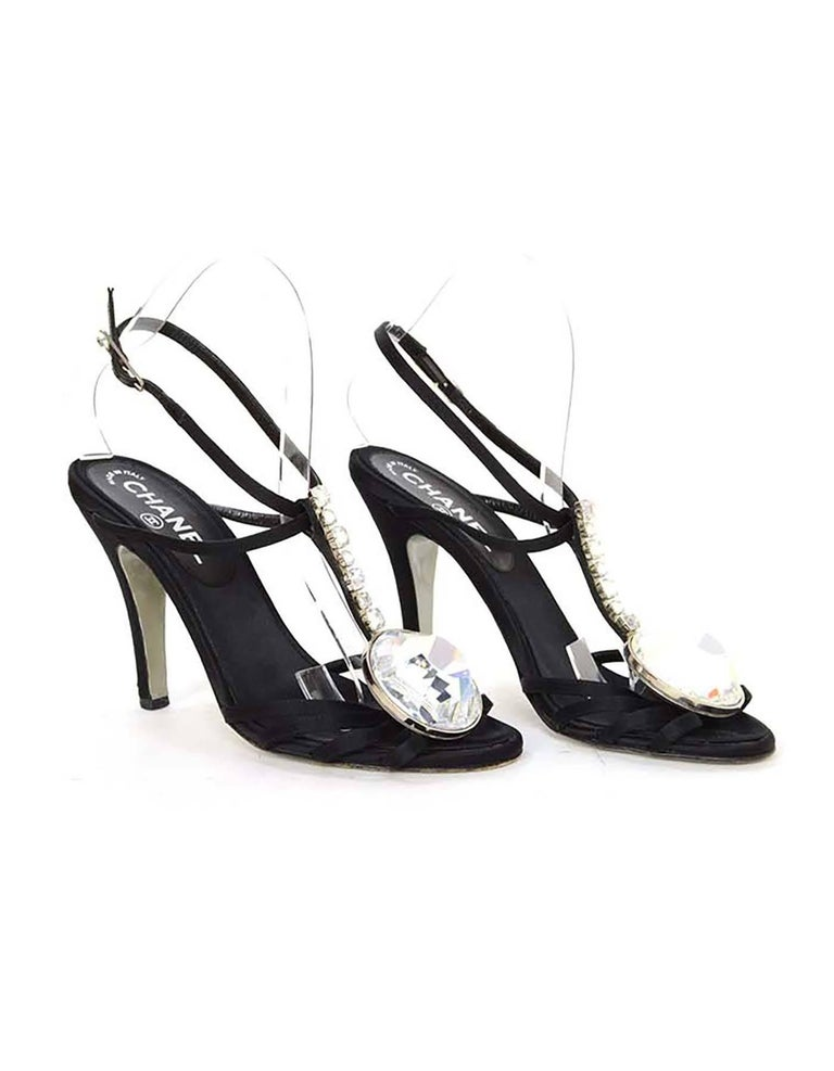 Chanel Black Satin & Crystal Evening Sandals sz 38 4