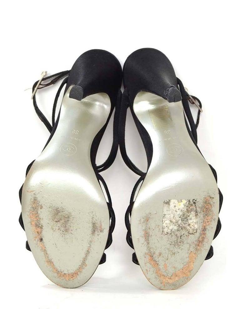 Chanel Black Satin & Crystal Evening Sandals sz 38 5