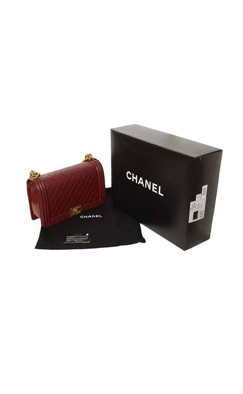Chanel '15 Burgundy Leather New Medium Boy Bag GHW 9