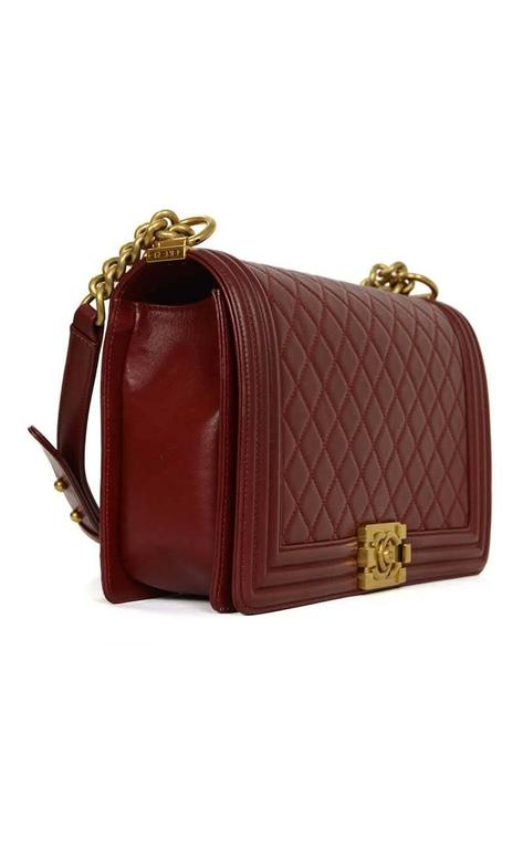 Chanel '15 Burgundy Leather New Medium Boy Bag GHW 2