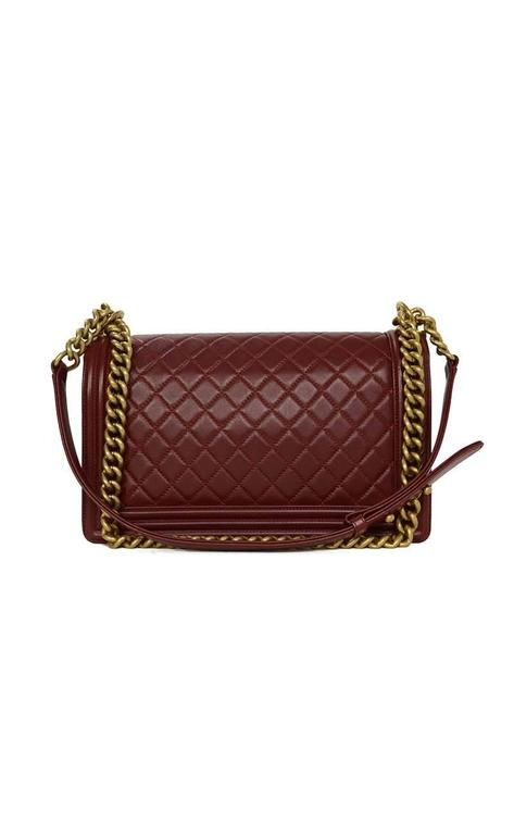 Chanel '15 Burgundy Leather New Medium Boy Bag GHW 3