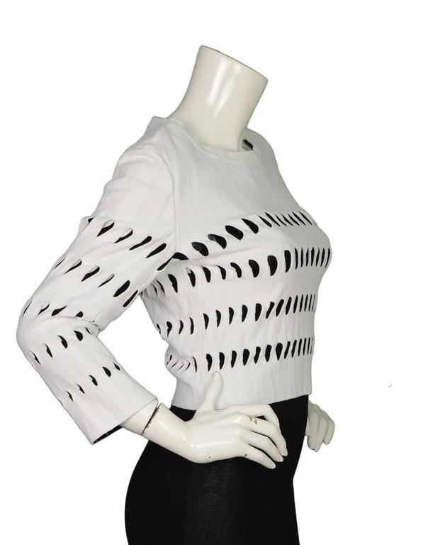 Alaia White & Black Cut-Out Cropped Top sz 44 2