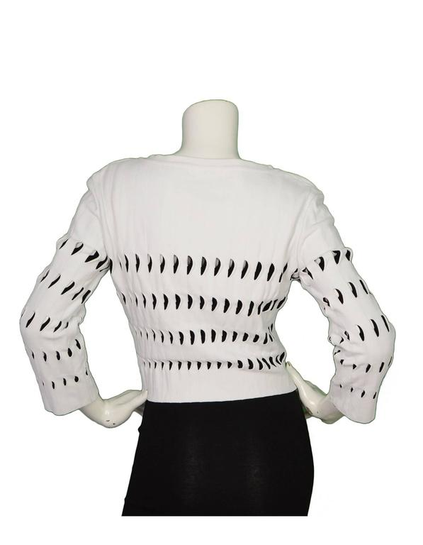 Alaia White & Black Cut-Out Cropped Top sz 44 3