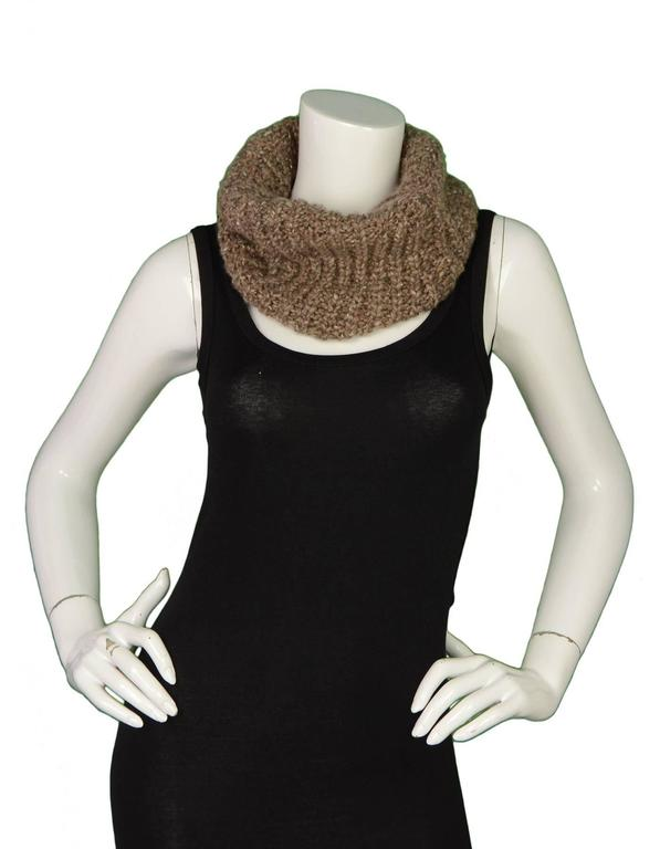 Brunello Cucinelli Brown Knit Cashmere Snood 3
