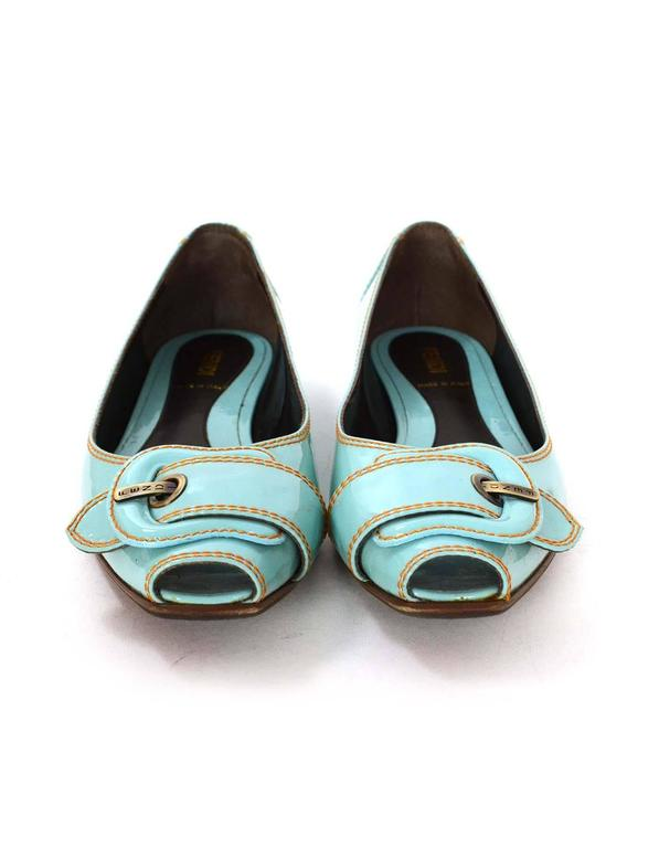 Fendi Light Blue Patent Peep-Toe Flats sz 37.5 In Excellent Condition For Sale In New York, NY