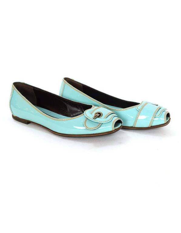 Women's Fendi Light Blue Patent Peep-Toe Flats sz 37.5 For Sale