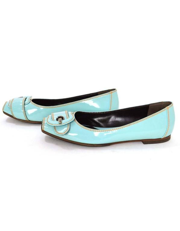 Fendi Light Blue Patent Peep-Toe Flats 