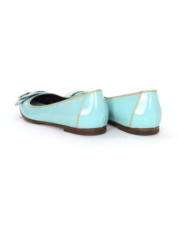 Fendi Light Blue Patent Peep-Toe Flats sz 37.5 For Sale 1
