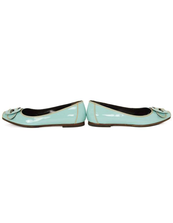 Fendi Light Blue Patent Peep-Toe Flats sz 37.5 For Sale 2