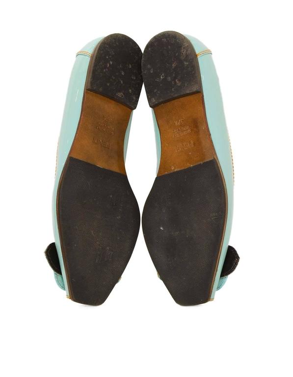 Fendi Light Blue Patent Peep-Toe Flats sz 37.5 For Sale 3