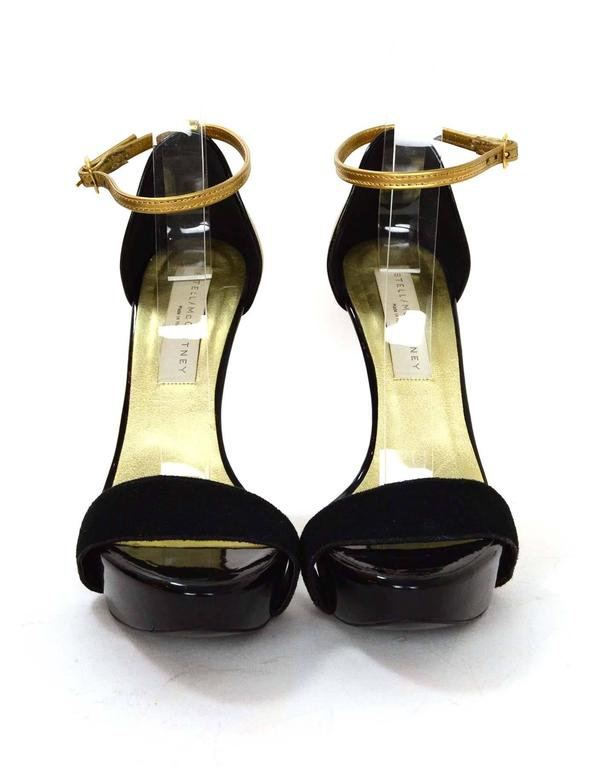 Stella McCartney Black & Gold Platform Sandals sz 36 In Excellent Condition For Sale In New York, NY