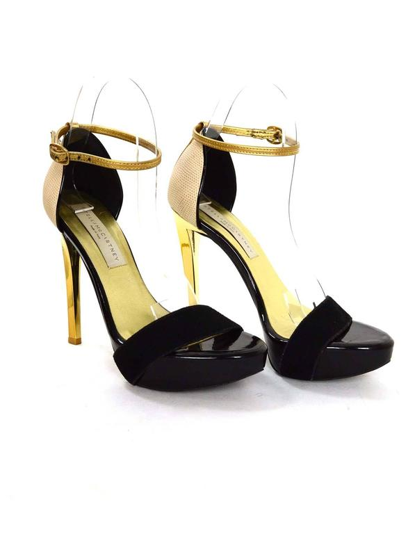 Stella McCartney Black & Gold Platform Sandals sz 36 4