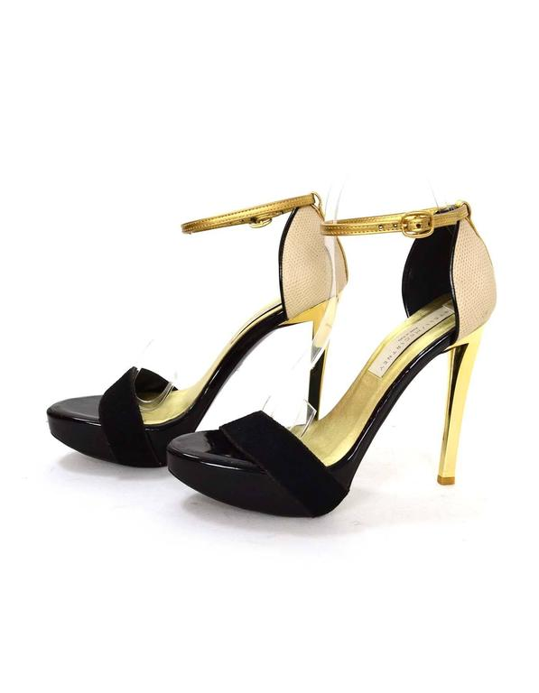 Stella McCartney Black & Gold Platform Sandals sz 36 2