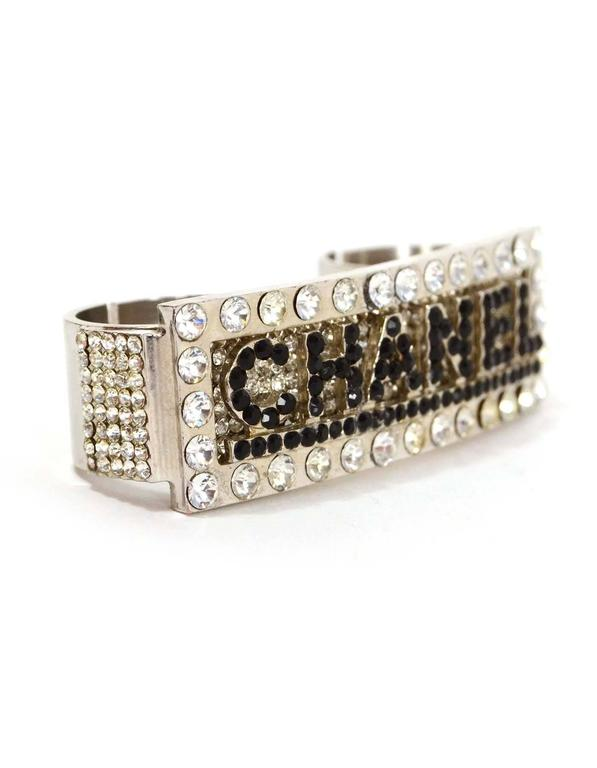 Chanel Black Crystal And Silver Double Knuckle Ring Sz 7