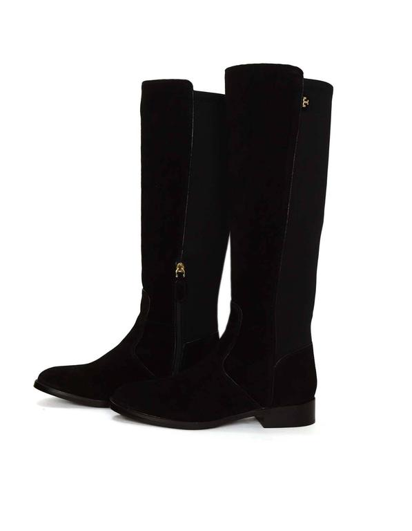 burch black suede selden boots sz 8 for sale