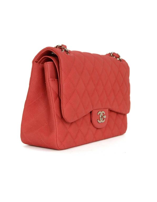 4cb700aff250 Chanel Coral Red Quilted Matte Caviar Jumbo Classic Double Flap Bag  Features adjustable shoulder strap Made