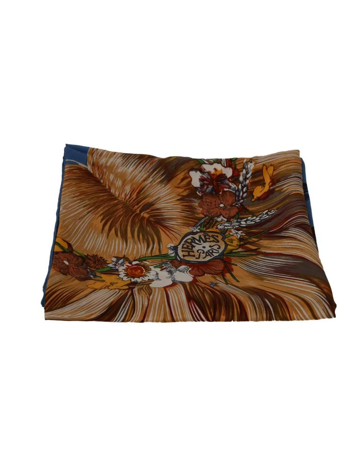 hermes blue and multi colored 90 cm silk scarf at 1stdibs