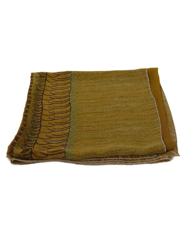 Chanel Brown & Green Sheer Silk XL Scarf In Excellent Condition For Sale In New York, NY
