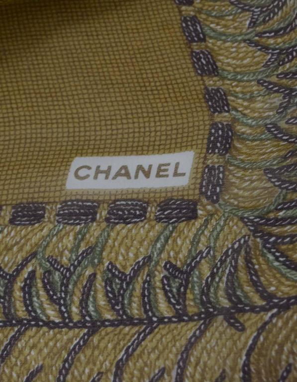 Women's Chanel Brown & Green Sheer Silk XL Scarf For Sale