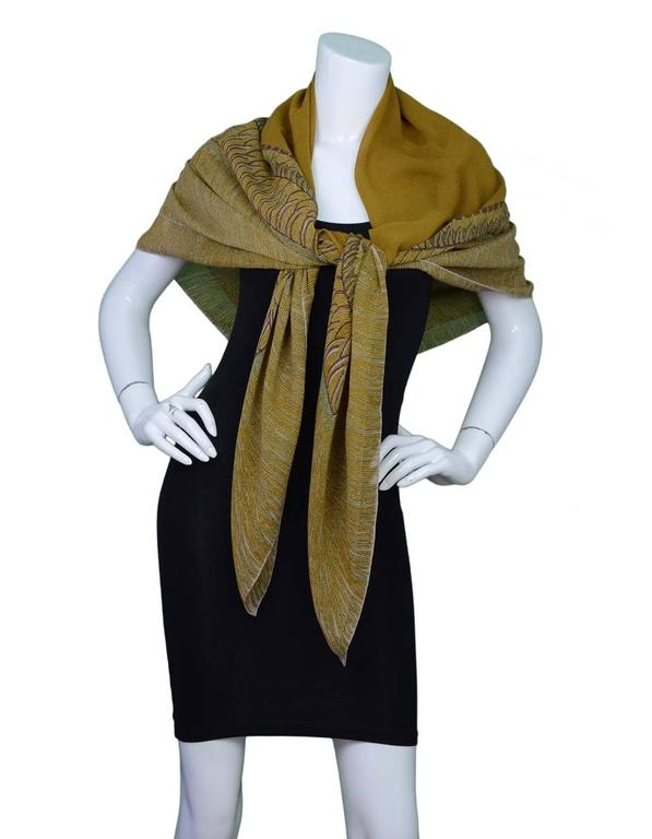 Chanel Brown & Green Sheer Silk XL Scarf For Sale 1