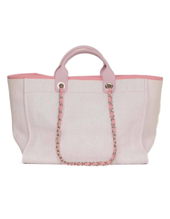 5d8f4092ec87f ... Features short pink leather handles and longer chain link pink canvas. Chanel  Pink Canvas Deauville Tote Bag SHW In Excellent Condition For Sale In New  ...