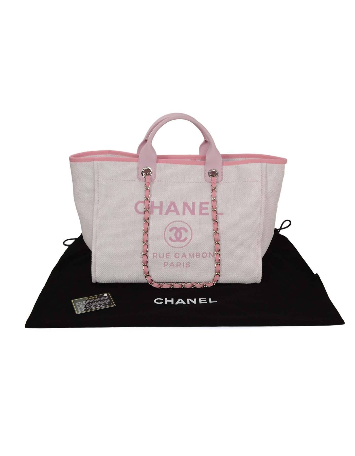 cf4f56d302c5b Chanel Pink Canvas Deauville Tote Bag SHW at 1stdibs
