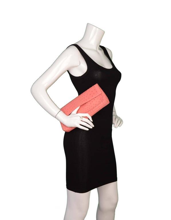 Nancy Gonzalez Pink Ostrich Clutch Bag GHW 2