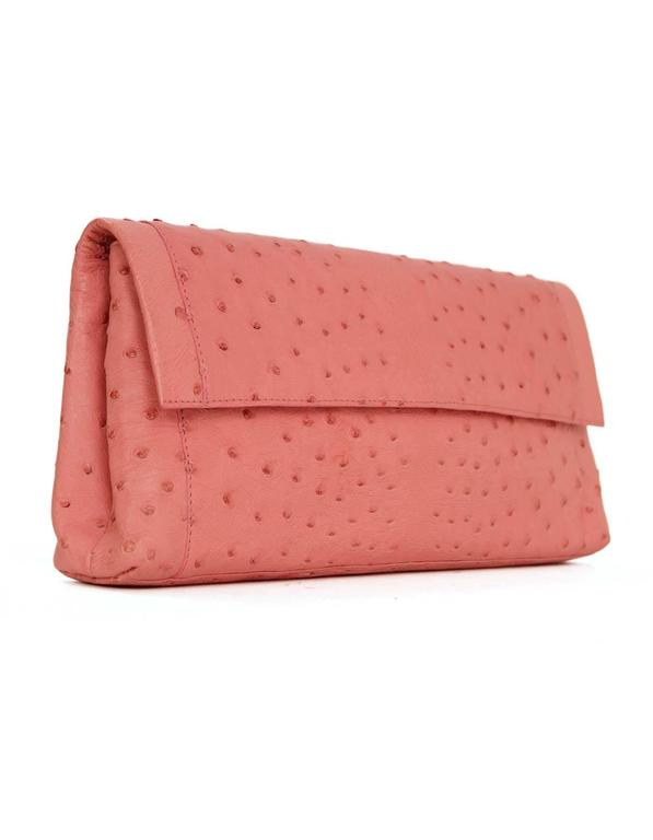 Nancy Gonzalez Pink Ostrich Clutch Bag GHW 3