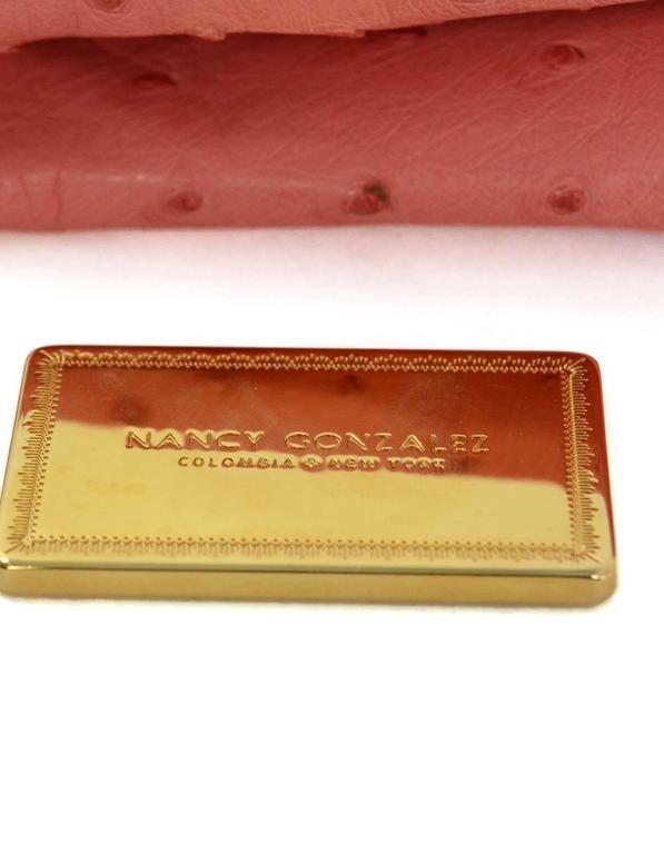 Nancy Gonzalez Pink Ostrich Clutch Bag GHW 9