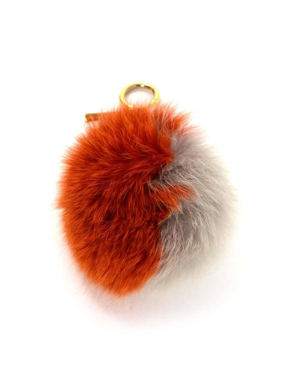 Fendi Grey & Orange Fox Fur Pom Pom 
