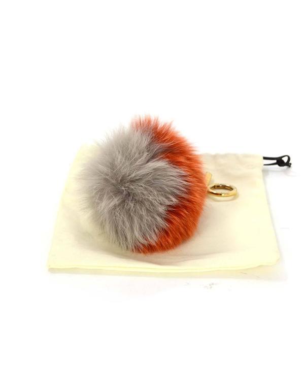 Fendi Grey & Orange Fox Fur Pom Pom GHW 4