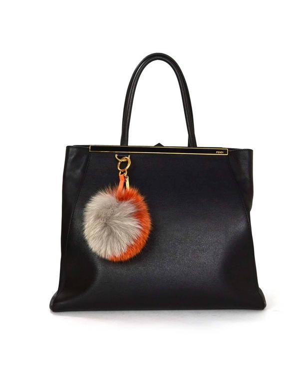 Fendi Grey & Orange Fox Fur Pom Pom GHW For Sale 1