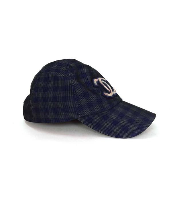 Chanel 2015 Navy/ Green Gingham CC Baseball Cap sz M 2