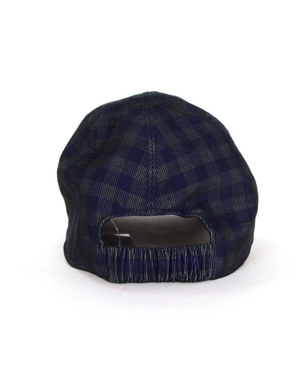 8afeb5b5fe7 Black Chanel 2015 Navy  Green Gingham CC Baseball Cap sz M For Sale