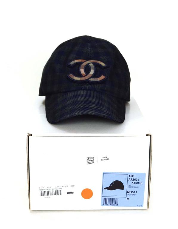 Chanel 2015 Navy/ Green Gingham CC Baseball Cap sz M 5