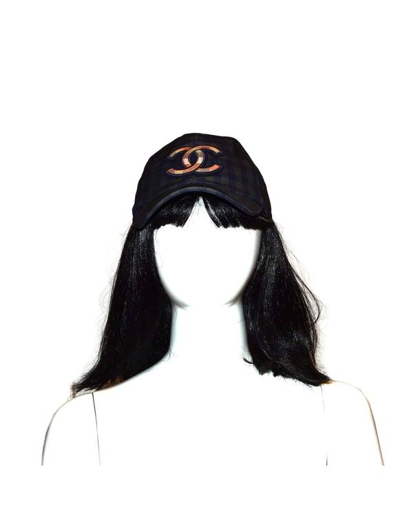Chanel 2015 Navy/ Green Gingham CC Baseball Cap sz M For Sale 1