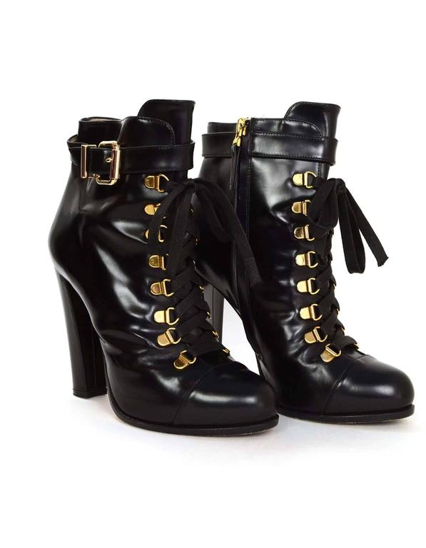 Fendi Black Leather Lace-Up Booties sz 37 For Sale at 1stdibs