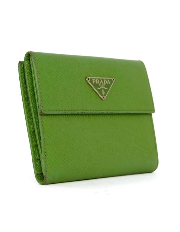 Prada Apple Green Saffiano Short Wallet 