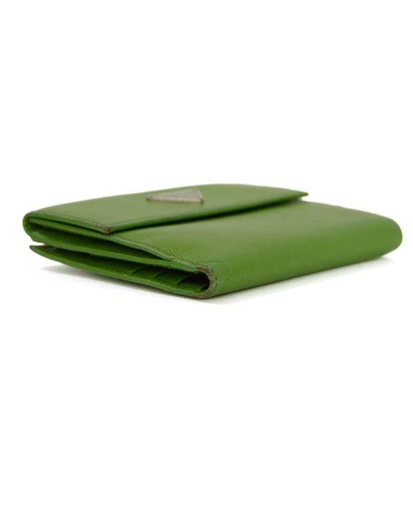 Prada Apple Green Saffiano Short Wallet SHW 4