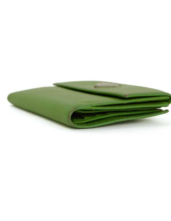 Prada Apple Green Saffiano Short Wallet SHW 5