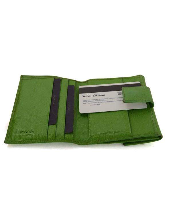 great deals on fashion hot-selling genuine official site Prada Apple Green Saffiano Short Wallet SHW