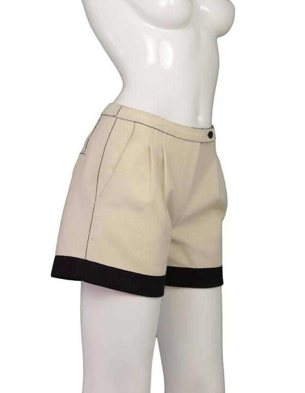 Fendi Cream & Black Felt Shorts sz 36 2