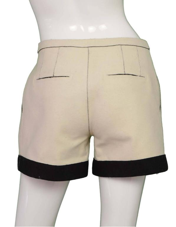 Fendi Cream & Black Felt Shorts sz 36 3
