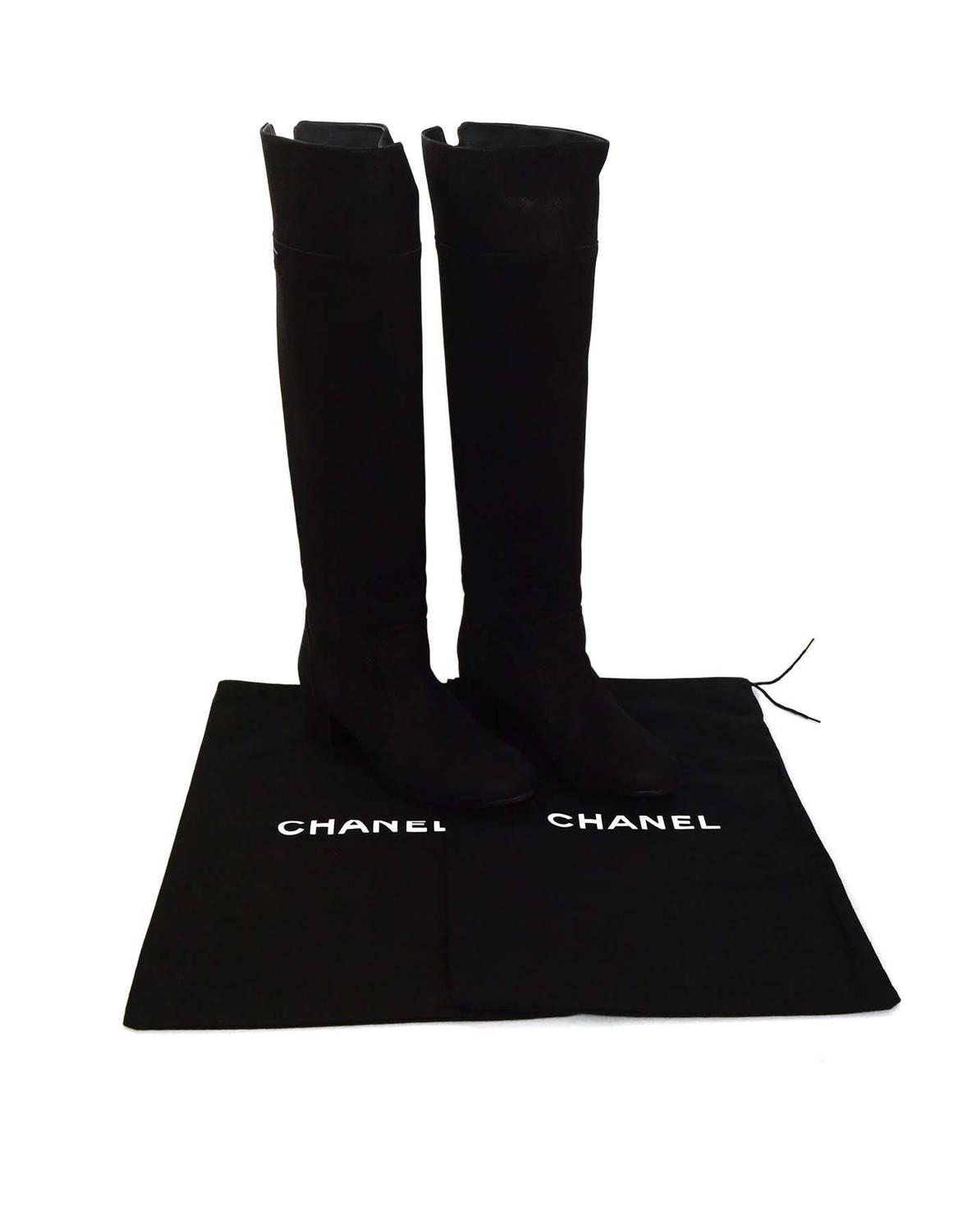 chanel black sueded leather knee high boots sz 42 at 1stdibs
