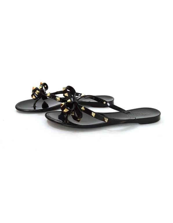 valentino black studded flip flops sz 37 for sale at 1stdibs. Black Bedroom Furniture Sets. Home Design Ideas